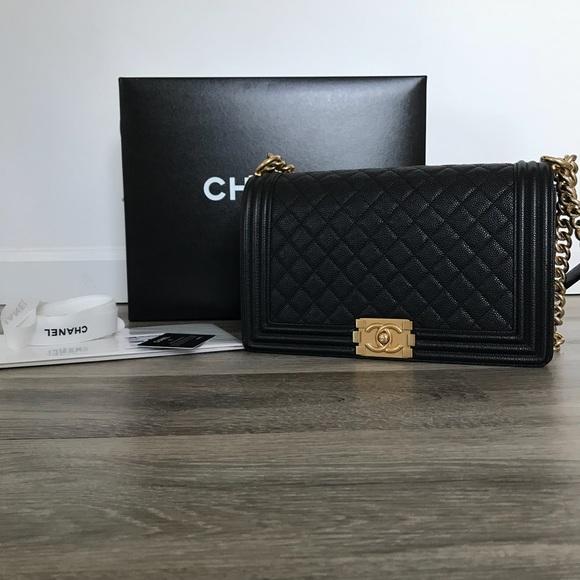 9bd2ced6db0b3e CHANEL Handbags - Chanel Boy Bag Medium Caviar Leather Gold Hardware